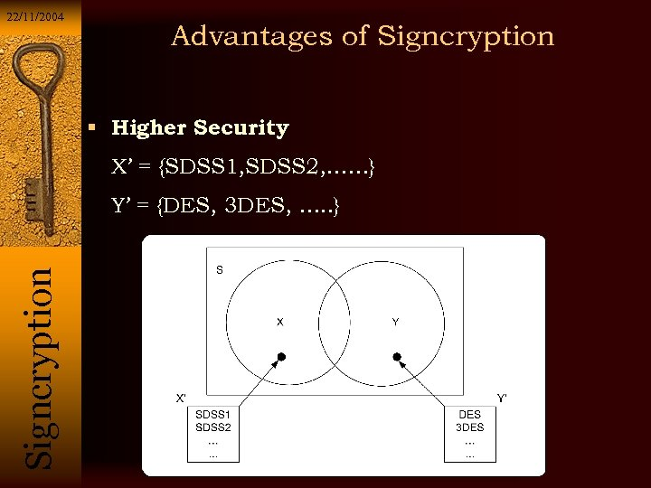 22/11/2004 Advantages of Signcryption Higher Security X' = {SDSS 1, SDSS 2, ……} Si