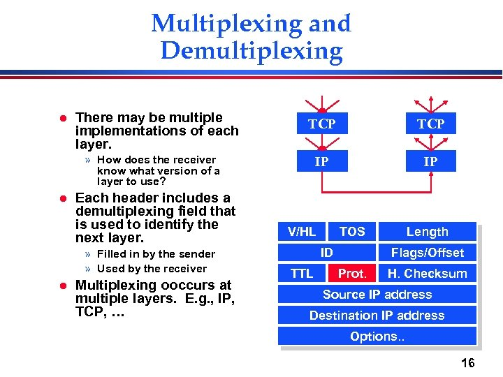 Multiplexing and Demultiplexing l There may be multiple implementations of each layer. TCP IP