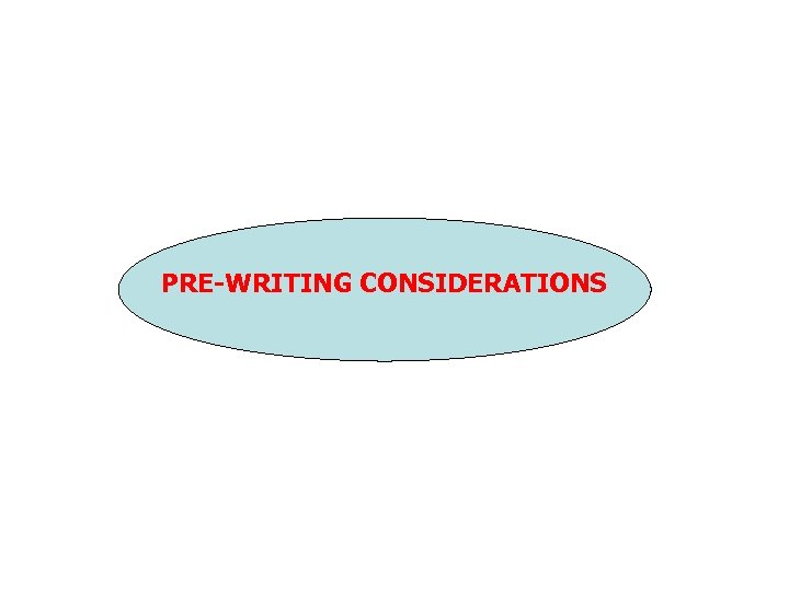 PRE-WRITING CONSIDERATIONS