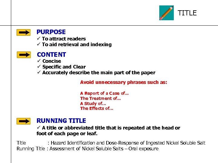 TITLE PURPOSE ü To attract readers ü To aid retrieval and indexing CONTENT ü
