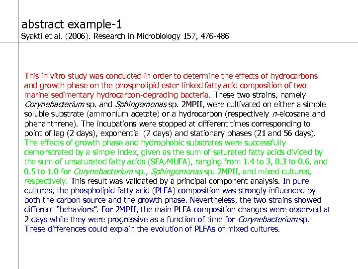 abstract example-1 Syakti et al. (2006). Research in Microbiology 157, 476 -486 This in