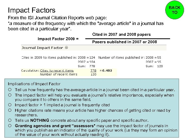 """BACK TO Impact Factors From the ISI Journal Citation Reports web page: """"a measure"""