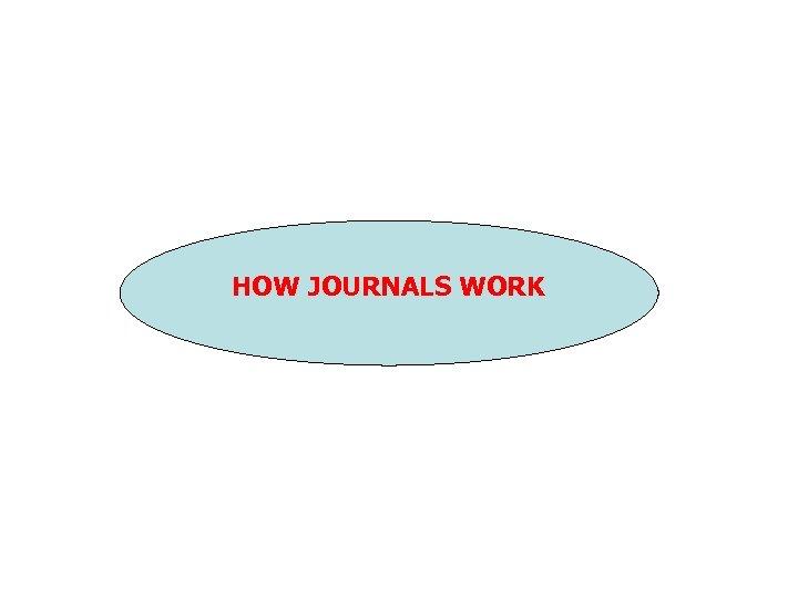 HOW JOURNALS WORK