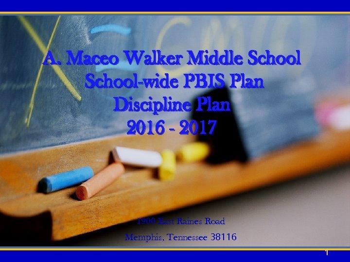 A. Maceo Walker Middle School-wide PBIS Plan Discipline Plan 2016 - 2017 1900 East