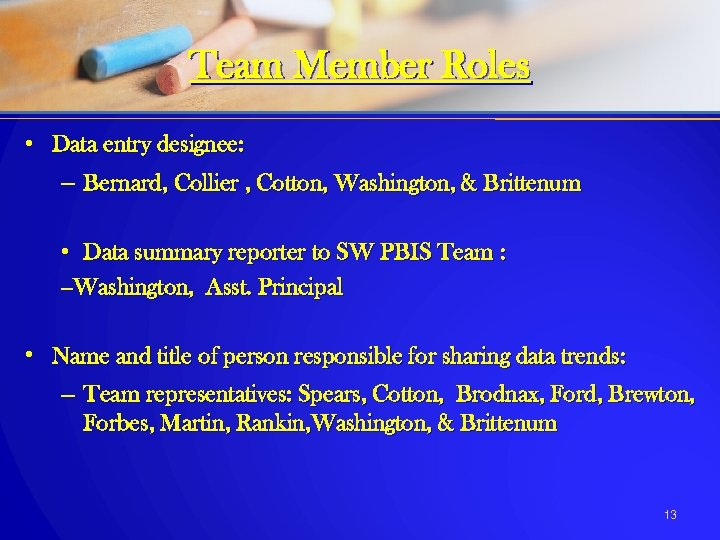 Team Member Roles • Data entry designee: – Bernard, Collier , Cotton, Washington, &