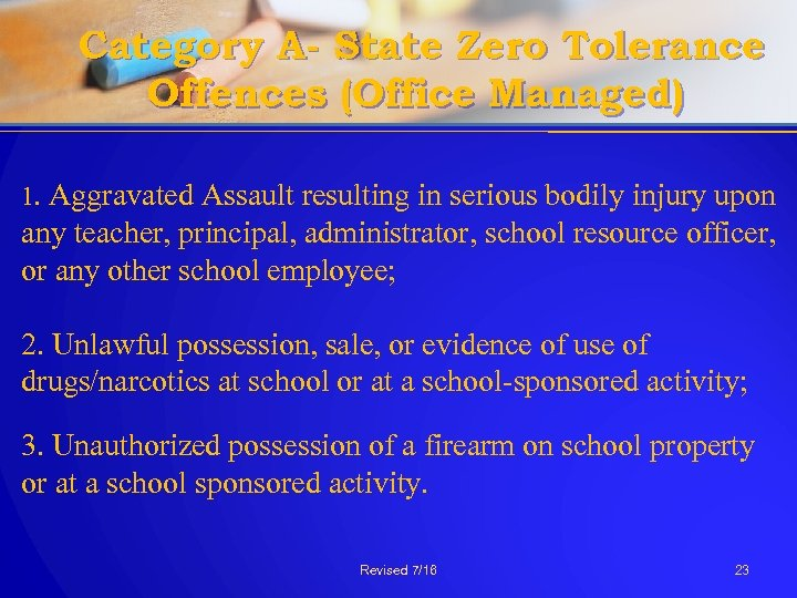 Category A- State Zero Tolerance Offences (Office Managed) 1. Aggravated Assault resulting in serious