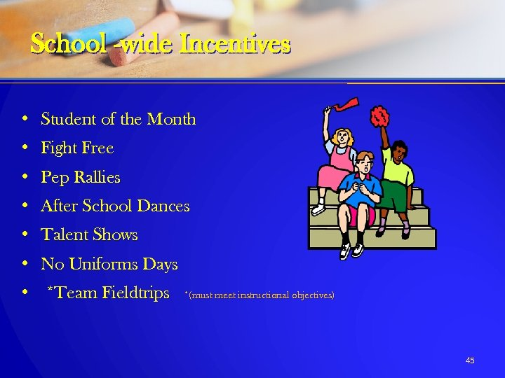 School -wide Incentives • Student of the Month • Fight Free • Pep Rallies