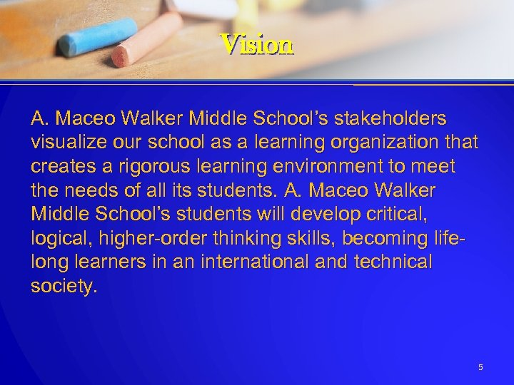 Vision A. Maceo Walker Middle School's stakeholders visualize our school as a learning organization