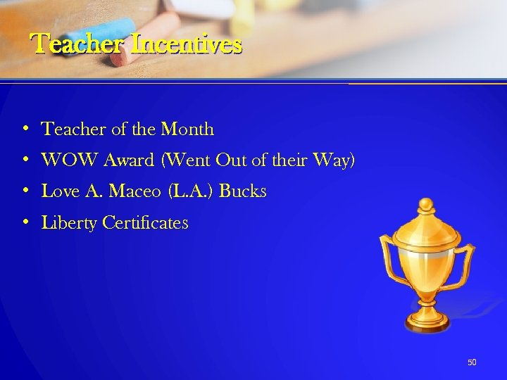 Teacher Incentives • Teacher of the Month • WOW Award (Went Out of their