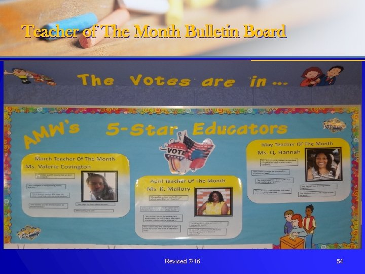 Teacher of The Month Bulletin Board Revised 7/16 54
