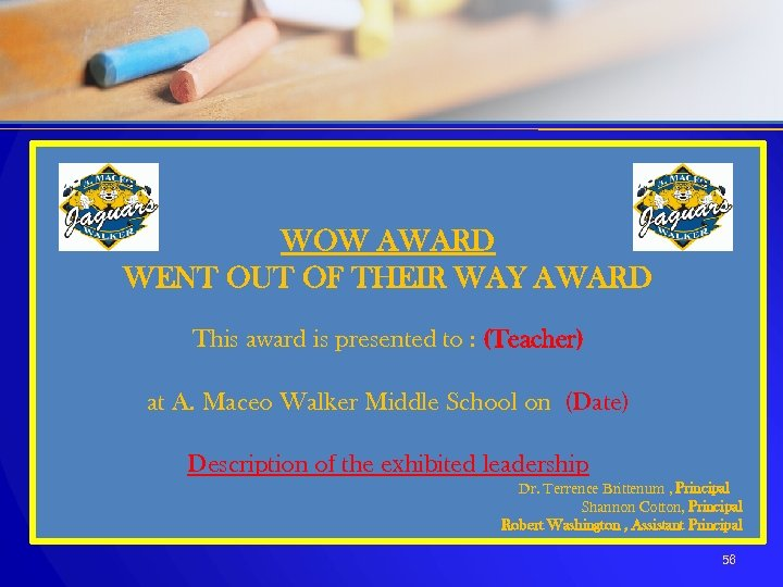 WOW AWARD WENT OUT OF THEIR WAY AWARD This award is presented to :