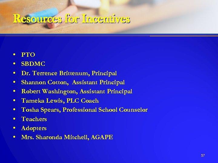 Resources for Incentives • • • PTO SBDMC Dr. Terrence Brittenum, Principal Shannon Cotton,