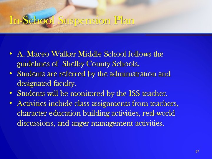 In-School Suspension Plan • A. Maceo Walker Middle School follows the guidelines of Shelby