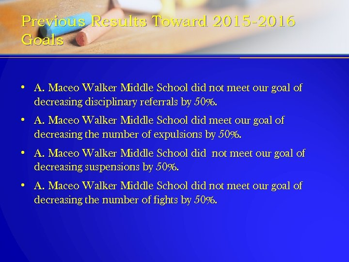 Previous Results Toward 2015 -2016 Goals • A. Maceo Walker Middle School did not