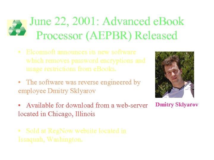 June 22, 2001: Advanced e. Book Processor (AEPBR) Released • Elcomsoft announces its new