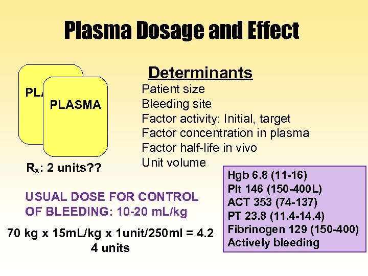 Plasma Dosage and Effect Determinants PLASMA Rx: 2 units? ? Patient size Bleeding site