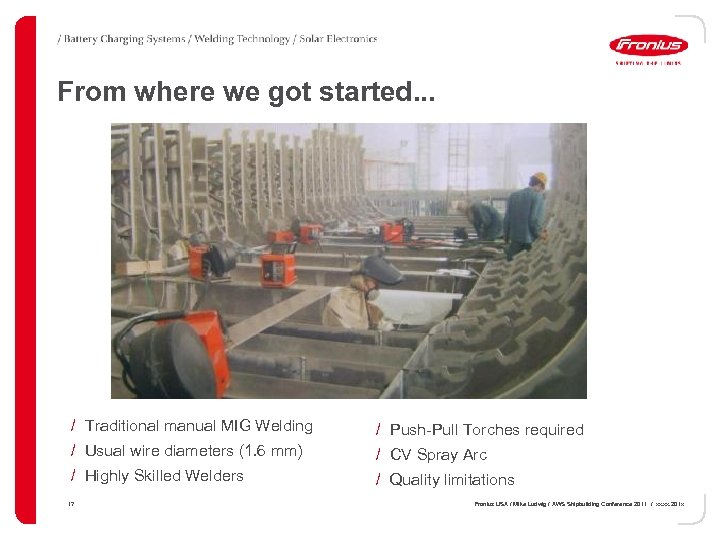 From where we got started. . . / Traditional manual MIG Welding / Push-Pull