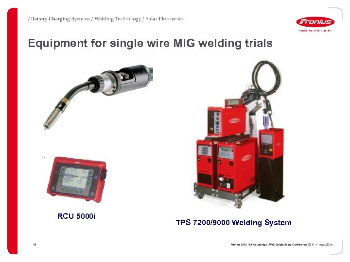 Equipment for single wire MIG welding trials Robacta Drive Torch RCU 5000 i 18