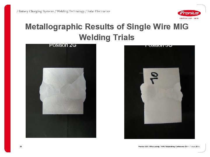 Metallographic Results of Single Wire MIG Welding Trials Position 2 G 28 Position 3