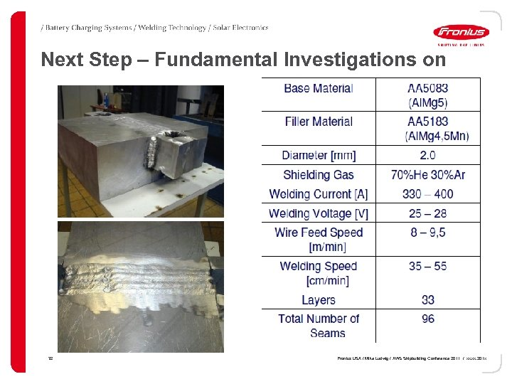 Next Step – Fundamental Investigations on Manual MIG 32 Fronius USA / Mike Ludwig