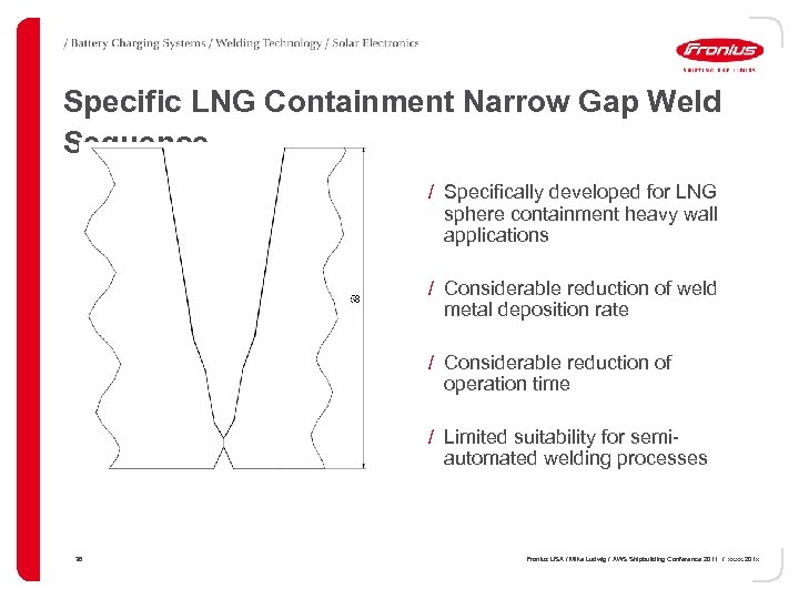 Specific LNG Containment Narrow Gap Weld Sequence / Specifically developed for LNG sphere containment