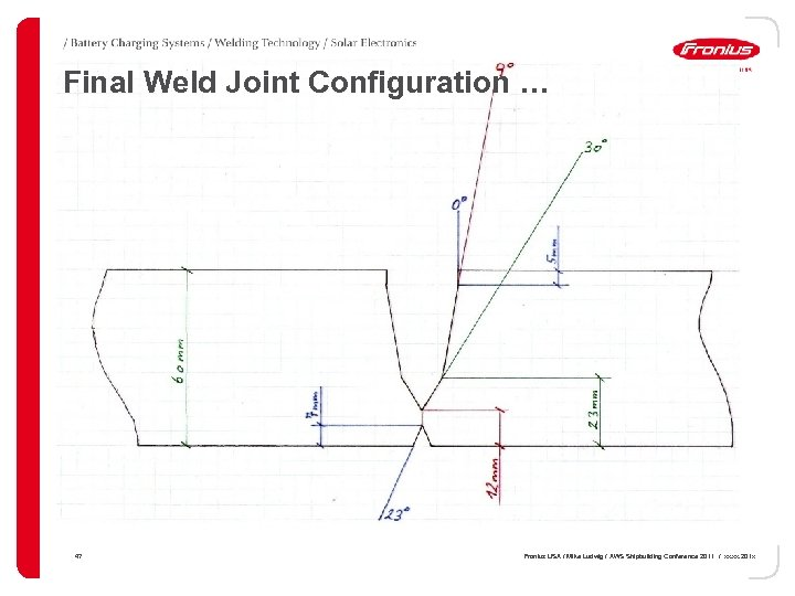 Final Weld Joint Configuration … 47 Fronius USA / Mike Ludwig / AWS Shipbuilding