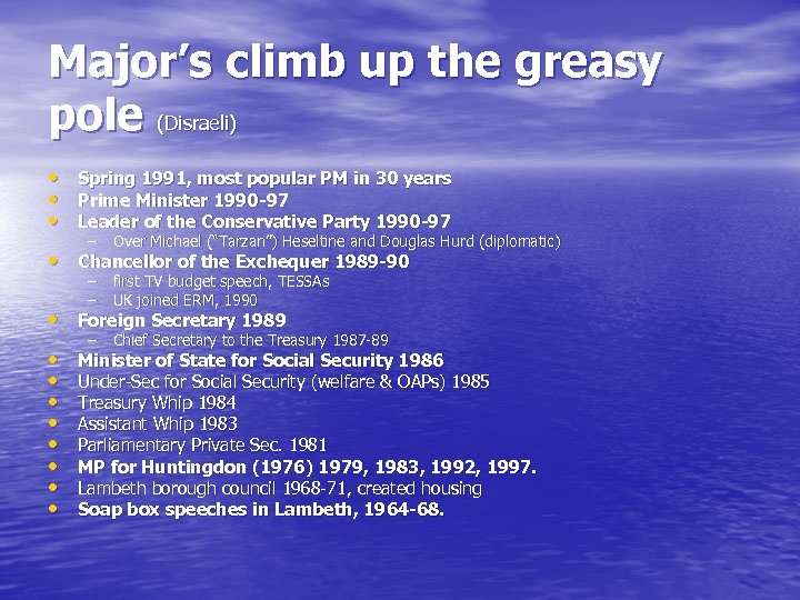 Major's climb up the greasy pole (Disraeli) • Spring 1991, most popular PM in