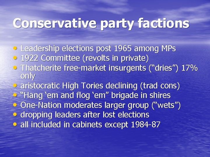 Conservative party factions • Leadership elections post 1965 among MPs • 1922 Committee (revolts