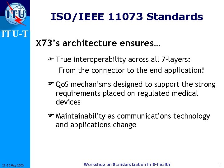 ISO/IEEE 11073 Standards ITU-T X 73's architecture ensures… F True interoperability across all 7