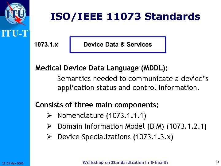 ISO/IEEE 11073 Standards ITU-T Medical Device Data Language (MDDL): Semantics needed to communicate a