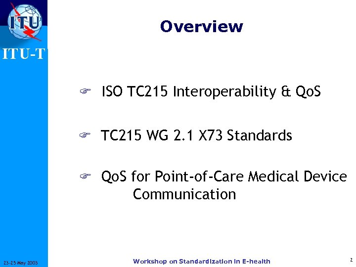 Overview ITU-T F ISO TC 215 Interoperability & Qo. S F TC 215 WG