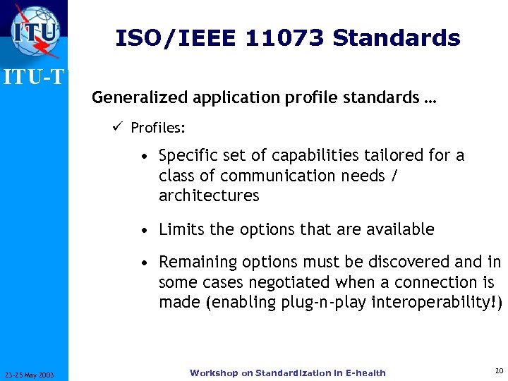 ISO/IEEE 11073 Standards ITU-T Generalized application profile standards … ü Profiles: • Specific set