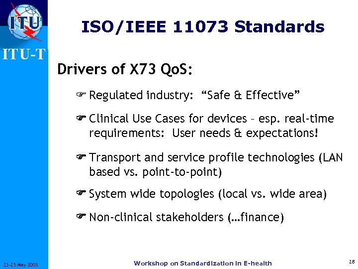 "ISO/IEEE 11073 Standards ITU-T Drivers of X 73 Qo. S: F Regulated industry: ""Safe"