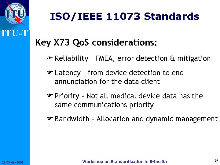 ISO/IEEE 11073 Standards ITU-T Key X 73 Qo. S considerations: F Reliability – FMEA,