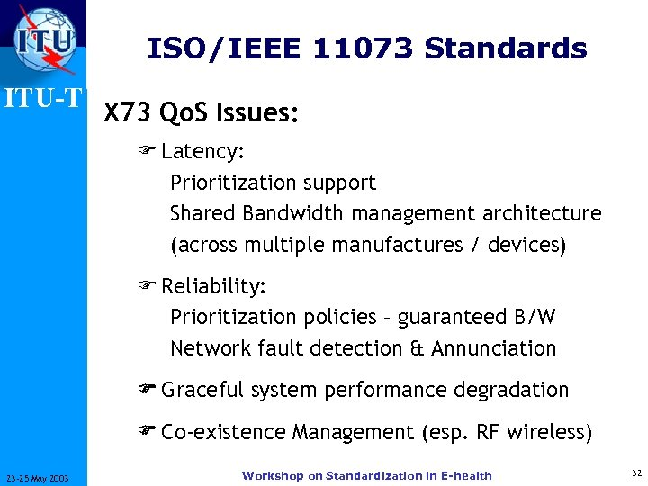ISO/IEEE 11073 Standards ITU-T X 73 Qo. S Issues: F Latency: Prioritization support Shared