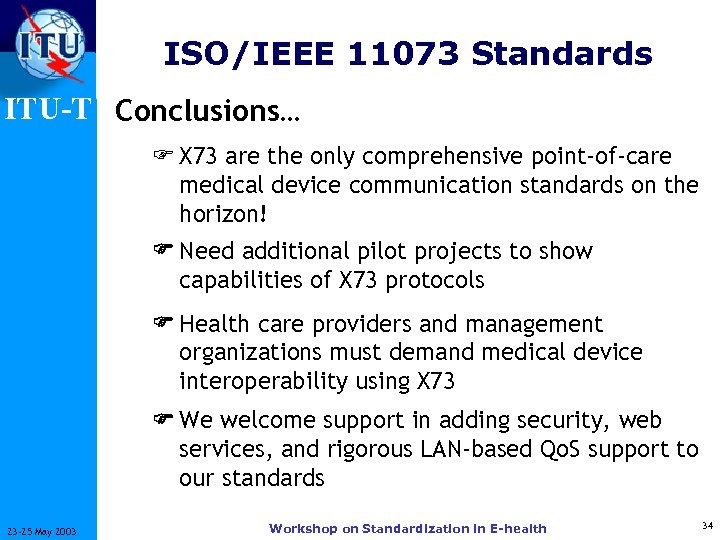 ISO/IEEE 11073 Standards ITU-T Conclusions… F X 73 are the only comprehensive point-of-care medical
