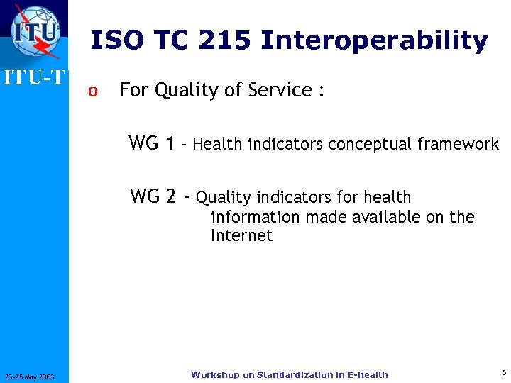 ISO TC 215 Interoperability ITU-T o For Quality of Service : WG 1 -