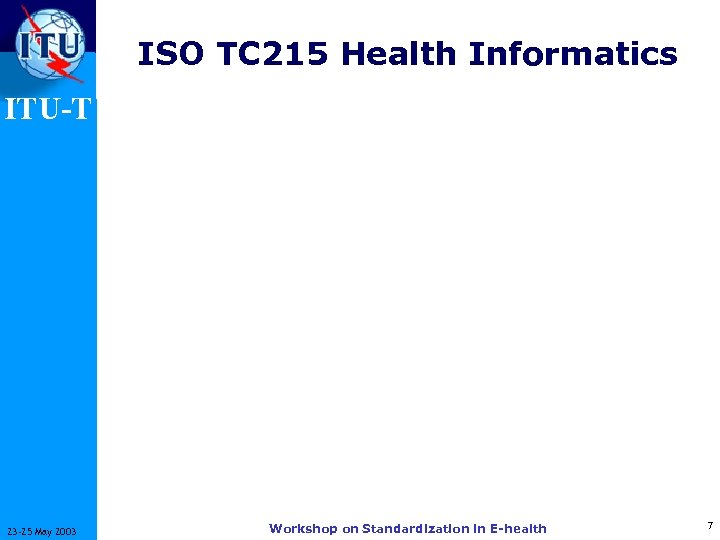 ISO TC 215 Health Informatics ITU-T 23 -25 May 2003 Workshop on Standardization in