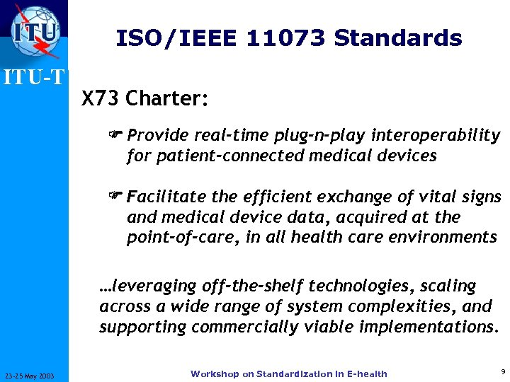 ISO/IEEE 11073 Standards ITU-T X 73 Charter: Provide real-time plug-n-play interoperability for patient-connected medical