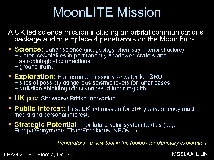 Moon. LITE Mission A UK led science mission including an orbital communications package and
