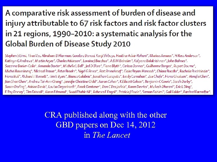 CRA published along with the other GBD papers on Dec 14, 2012 in The