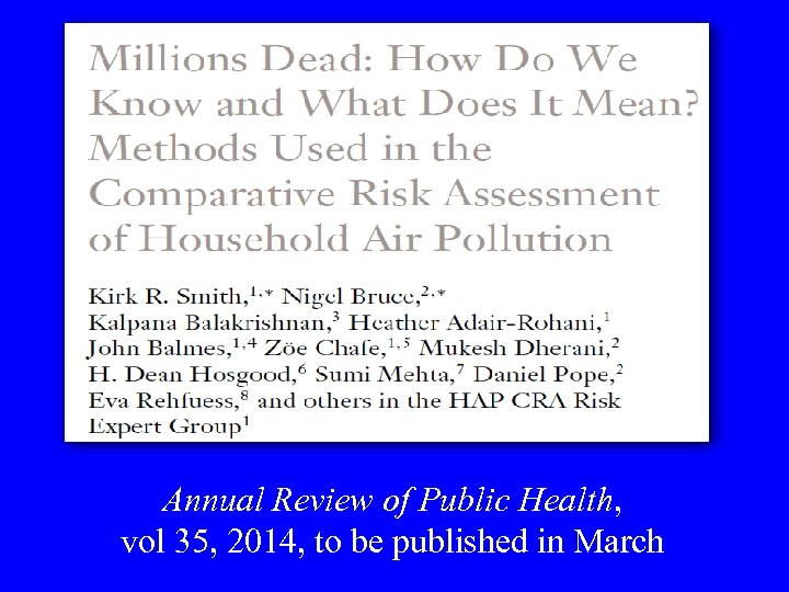 Annual Review of Public Health, vol 35, 2014, to be published in March