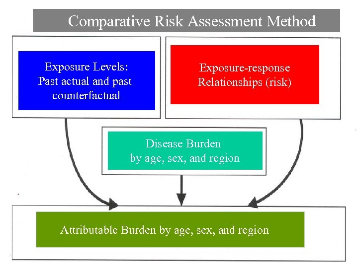 Comparative Risk Assessment Method Exposure Levels: Past actual and past counterfactual Exposure-response Relationships (risk)