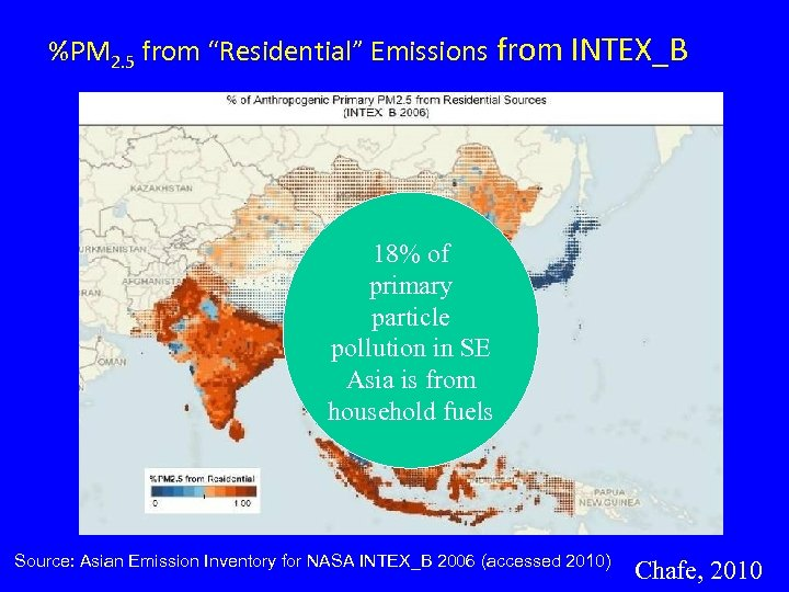 """%PM 2. 5 from """"Residential"""" Emissions from INTEX_B 18% of primary particle pollution in"""