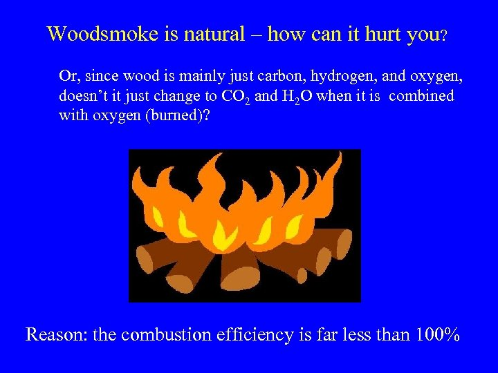 Woodsmoke is natural – how can it hurt you? Or, since wood is mainly