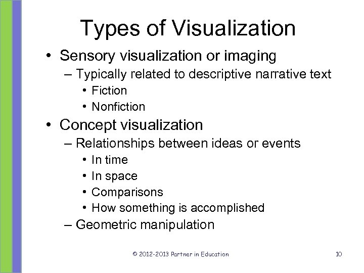 Types of Visualization • Sensory visualization or imaging – Typically related to descriptive narrative