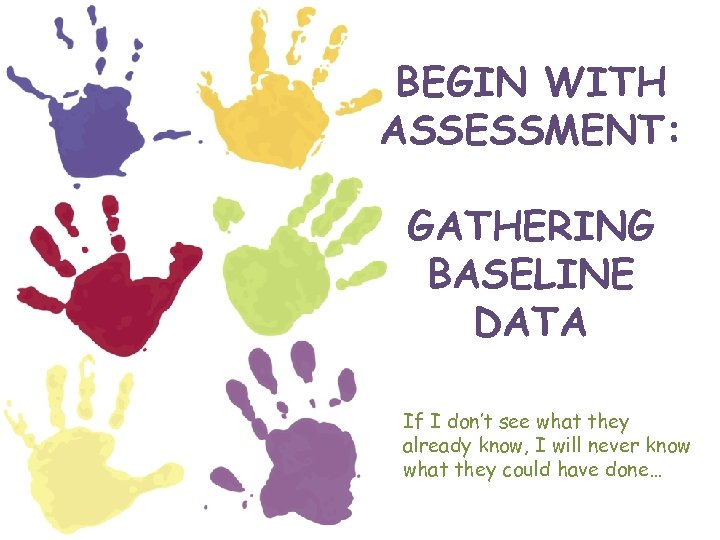 BEGIN WITH ASSESSMENT: GATHERING BASELINE DATA If I don't see what they already know,