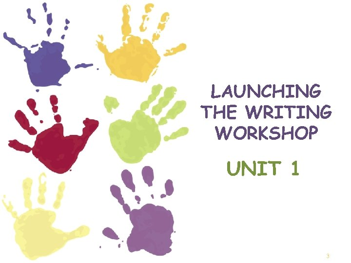 LAUNCHING THE WRITING WORKSHOP UNIT 1 3