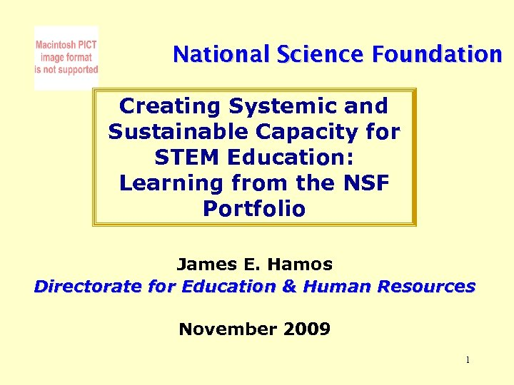 National Science Foundation Creating Systemic and Sustainable Capacity for STEM Education: Learning from the