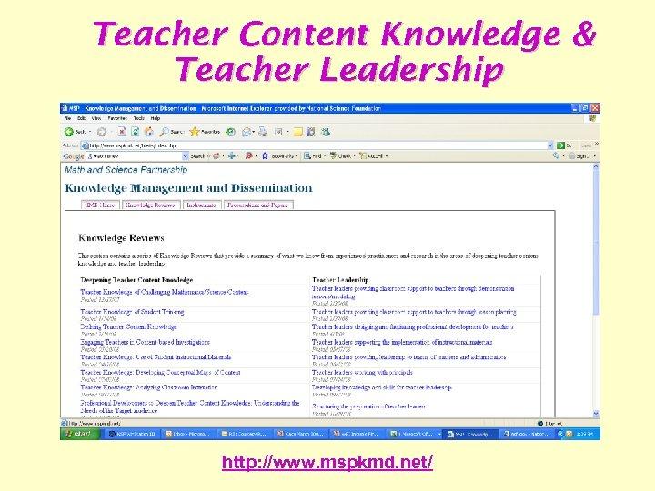 Teacher Content Knowledge & Teacher Leadership http: //www. mspkmd. net/